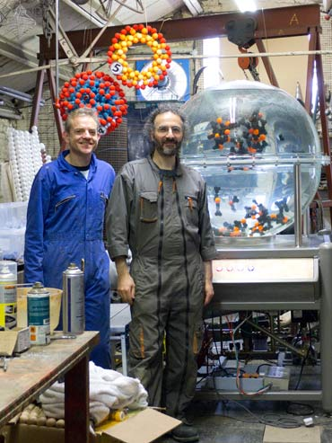 Tom Grimsey and Theo Kaccoufa at the Giants of the Infinitesimal Studio.